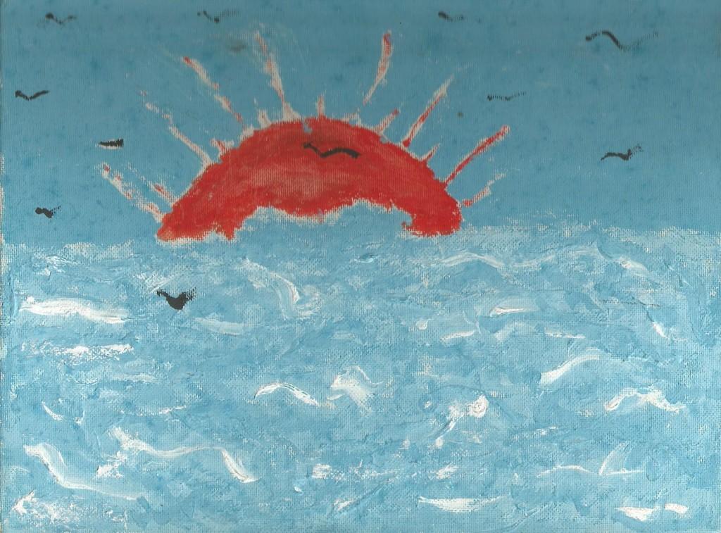 Mare, Tiziana Mazzaglia, tempera su tela 18x24cm, 1987.