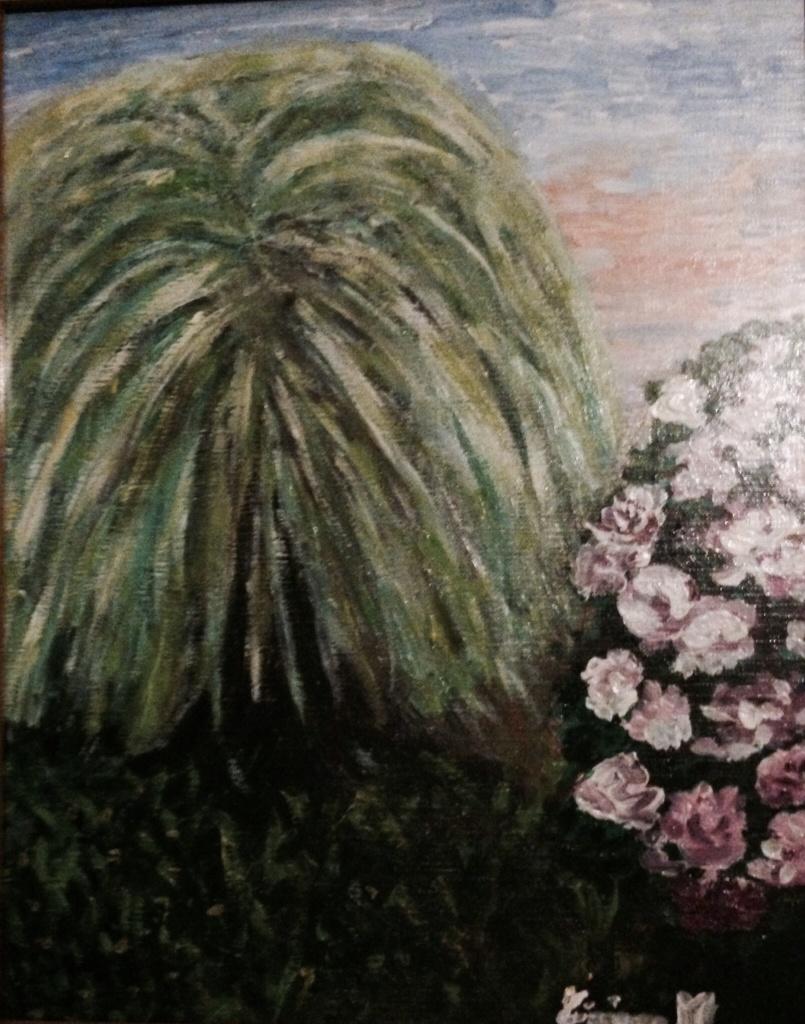 Salice e rose, Tiziana Mazzaglia olio su tela 20x30cm, 1999.