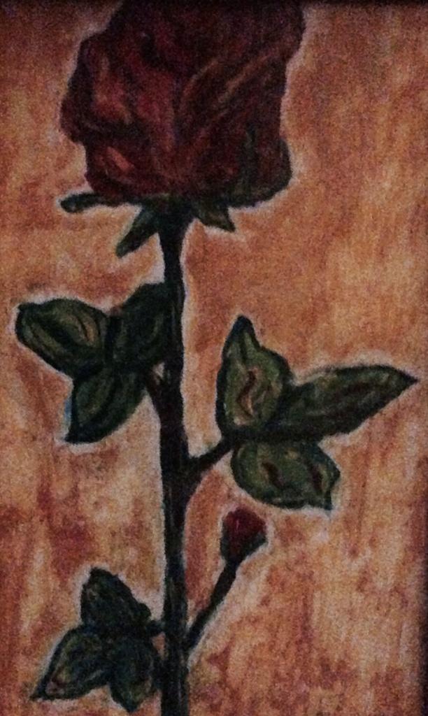 Rosa, Tiziana Mazzaglia, tempera su cartoncino 10x8cm 2000