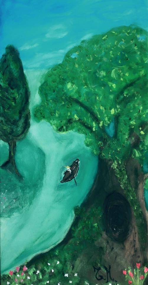Viaggio in canoa, di Tiziana Mazzaglia, tempera su tela, 30x60cm, 2015.